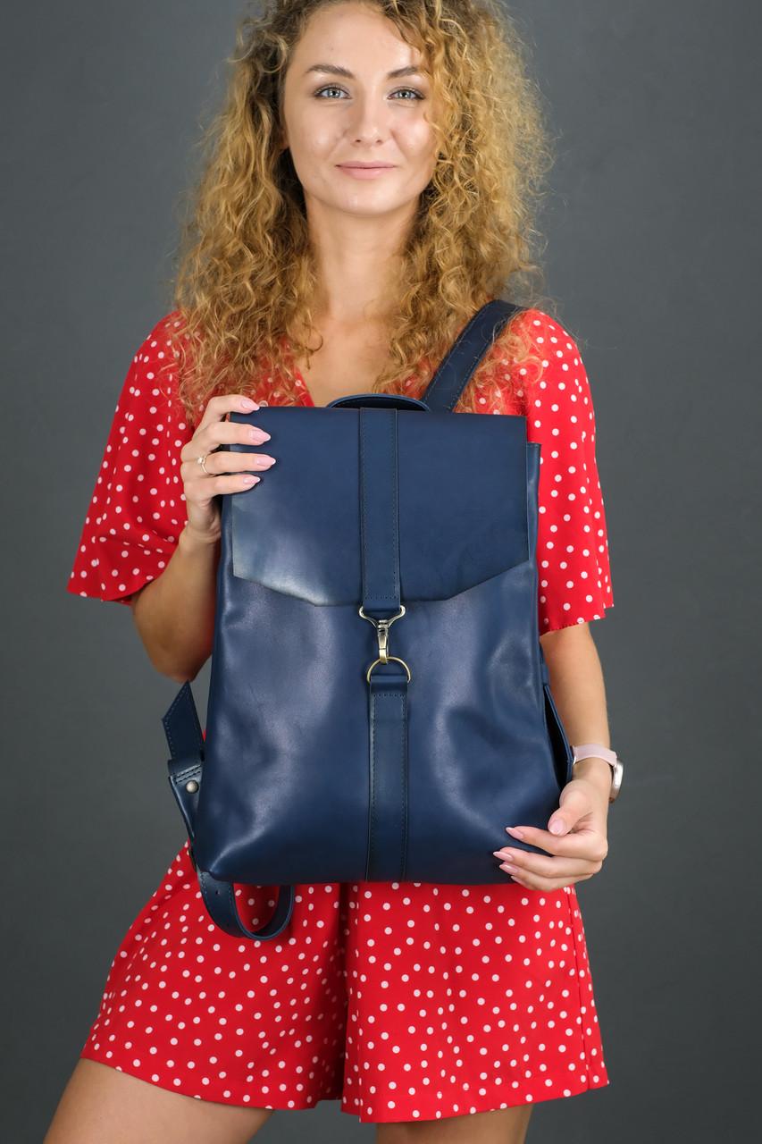Женский кожаный Рюкзак Монако, натуральная кожа итальянский Краст цвет Синий