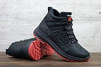 Чёрные кожаные ботинки мужские Reebok   натуральная кожа матовая / натуральная шерсть + ТПУ