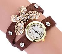Наручные часы женские с коричневым ремешком Бабочка код 115