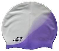 Шапочка для плавания «юниор» белый/сиреневый цвет, фото 1