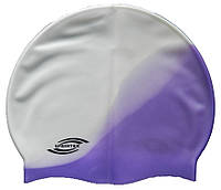 Шапочка для плавания «юниор» белый/сиреневый цвет