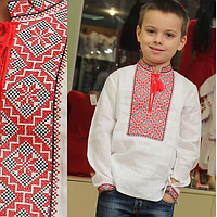Детская вышиванка на мальчика, красно-черный узор, фото 1
