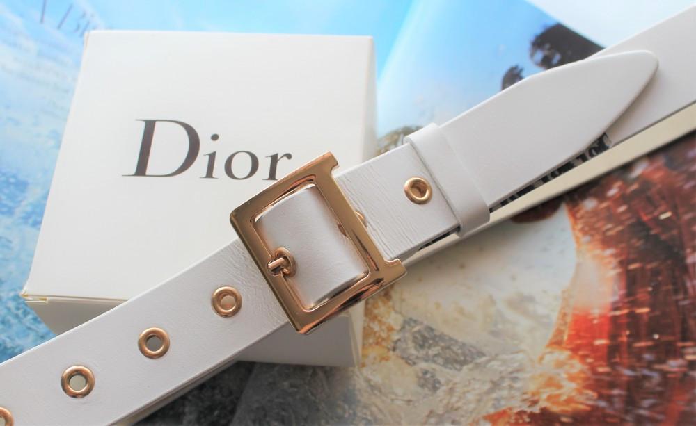 Жіночий ремінь Dior пряжка золото ширина 3.3 см білий