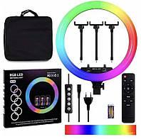 Подсветка и вспышка для селфи, Профессиональная Кольцевая LED лампа RGB MJ18 45см 3 крепление + пульт и сумка