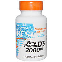 Витамин Д3, Doctor's Best, 2000 МЕ, 180 капсул