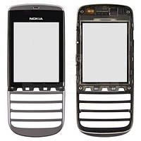 Тачскрин (сенсор) Nokia Asha 300 с рамкой черный