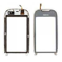 Тачскрин (сенсор) Nokia C7-00 с рамкой серебристый