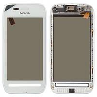 Тачскрин (сенсор) Nokia 603 с рамкой белый