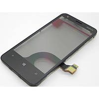 Тачскрин (сенсор) Nokia Lumia 620 с металлической рамкой черный