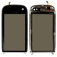 Тачскрин (сенсор) Nokia 701 с рамкой черный