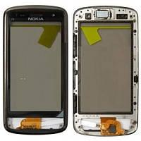 Тачскрин (сенсор) Nokia C6-01 с рамкой черный