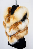 Меховая женская жилетка из шкур лисы. Длина 60 см
