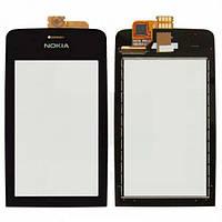 Тачскрин (сенсор) Nokia Asha 308, Asha 309, Asha 310 черный