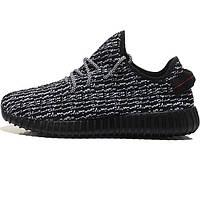 Женские кроссовки, мужские кроссовки Adidas Kanye West Yeezy 350 черные с белым