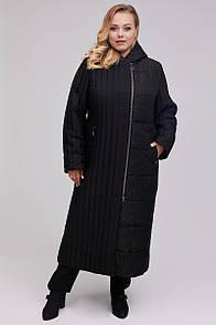 Єлегантное жіноче стьобана пальто вертикальна смужка чорний синій 46-64 розмір