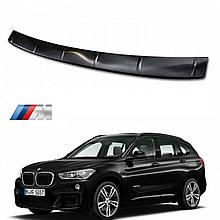 Захисна накладка на задній бампер для BMW X1 F48 M-Sport 2015-2020, lift 2020+ /чорн.нерж.сталь/