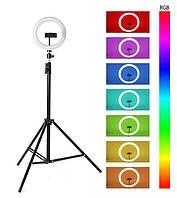 Профессиональная Кольцевая LED лампа RGB MJ26 +1 крепление питание USB, управление на проводе + Штатив-тренога
