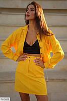 Костюм женский юбочный из микровельвета куртка-бомбер на пуговицах и короткая юбка трапеция арт 552