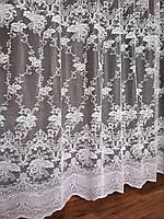 Тюль жаккард з ламбрекеном білий лілія, фото 1