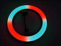 Профессиональная Кольцевая LED лампа RGB MJ33 +1 крепление питание USB, управление на проводе + Штатив-тренога