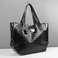 Черная женская кожаная сумка Viladi, фото 1
