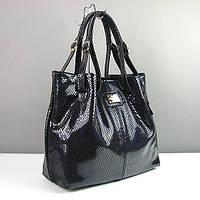 Темно-синяя кожаная сумка лаковая Viladi