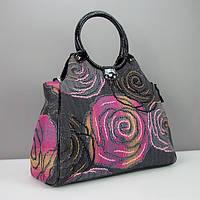 Большая дамская сумка текстильная нашивка бисером