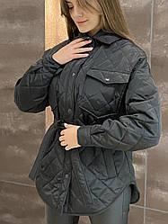 Женская стеганая куртка Bilichka с карманами (Черная)