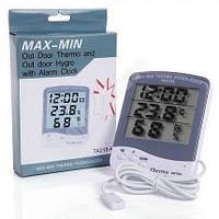Термометр, гигрометр, часы - выносной. Инкубатор / теплица / для дома., фото 1