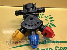 Форсунка для опрыскивателя 3-позиционная (тройная) маятниковая шланговая проходная Agroplast 0-100/GW08/P