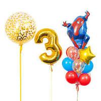 Оформление из воздушных шаров с фигурой Спайдермен и золотой цифрой