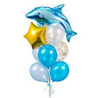 Фонтан из воздушных шаров и фольгированной фигурой Дельфин