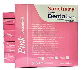 Кофердам розовый (Pink Dental Dam), латексный с ароматом мяты, средний (medium), (152мм x152мм) 36шт