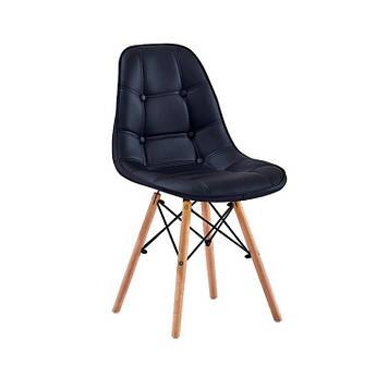 Мягкий стул Джастин  кожзам на деревянных ножках бук,черный
