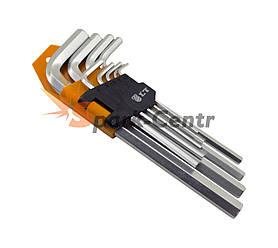Набір подовженних Г-образних шестигранних ключів LT HEX 9шт (1,5-10 мм) в пластиковій кліпсі