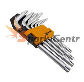 Набір Г-образних шестигранних ключів LT TORX 9шт (T10 - T50) в пластиковій кліпсі