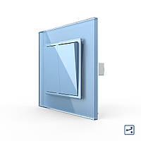 Двоклавішний прохідний вимикач блакитний скло Livolo (VL-C7K2S-19), фото 1
