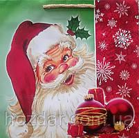 Новогодний пакет подарочный крафт бумажный квадрат 23х24х10