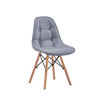 Мягкий стул Джастин  кожзам на деревянных ножках бук,серый
