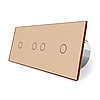 Сенсорний ZigBee вимикач 4 сенсора (1-2-1) золото скло Livolo (VL-C701Z/C702Z/C701Z-13)