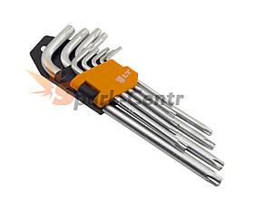 Набір подовжених Г-образних шестигранних ключів LT TORX 9шт (T10 - T50) в пластиковій кліпсі