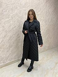Женская стеганая куртка пальто Bilichka с карманами (Черный)
