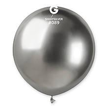 """Латексна кулька хром срібний 19"""" / 89 / 48см Shiny Silver"""