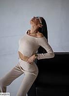 Вязаный молодежный стильный костюм женский теплый брюки с высокой посадкой и облегающий топ р-ры 42-44,46-48