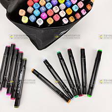 Скетч маркеры Touch 60 шт набор маркеров фломастеры для скетчинга 60 цветов набор двусторонних скетч маркеров, фото 3