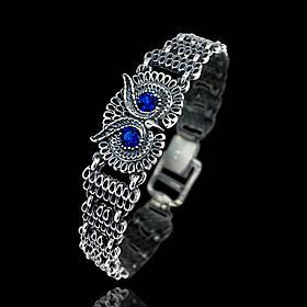 Срібний жіночий браслет Сова з фіанітами, 190мм