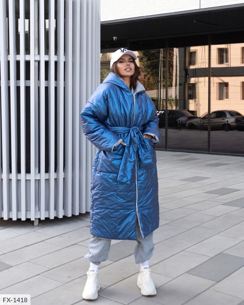 Женский зимний объёмный пуховик-одеяло с аква-пропиткой,  42-46, оливка, синий, бежевый