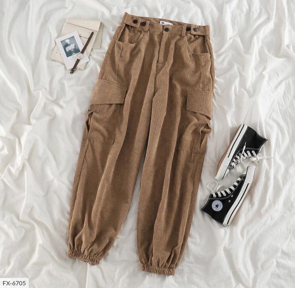 Женские вельветовые джогеры с карманами 42-44, 44-46, молоко, мокко, джинс, фрез
