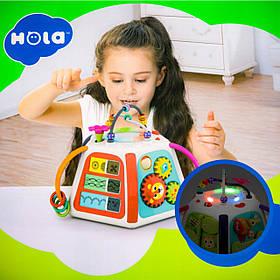 Інтерактивна розвиваюча іграшка «Логічний куб» Hola 3153 (світло, звук, англ. яз)