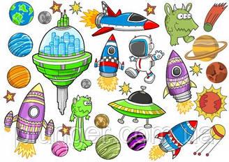 Вафельна картинка для кондитерських виробів Космос (аркуш А4) 4